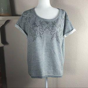 ❤️Gray Short Sleeve SweatShirt Top Grommet Design